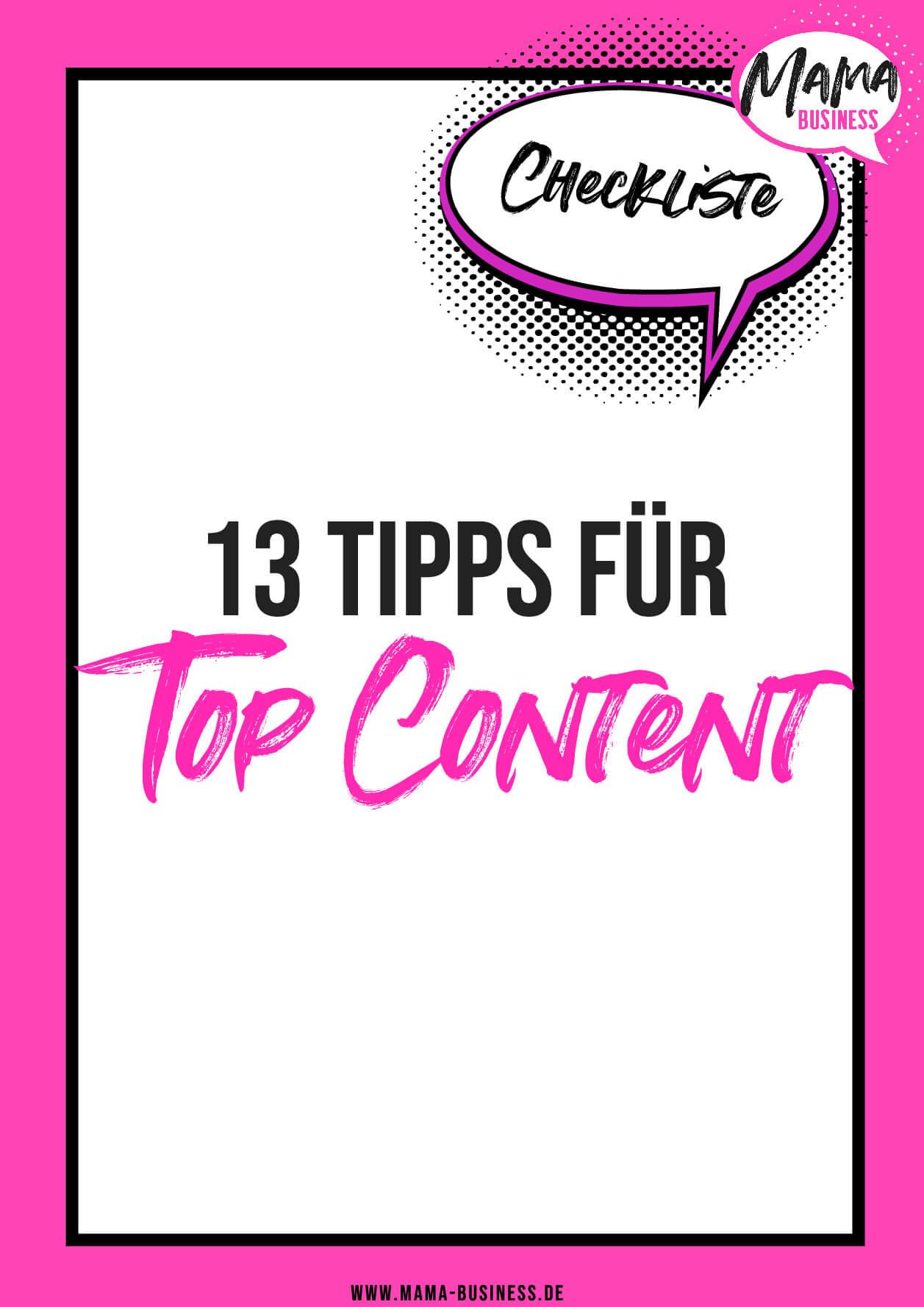 13 Tipps zu Top Content