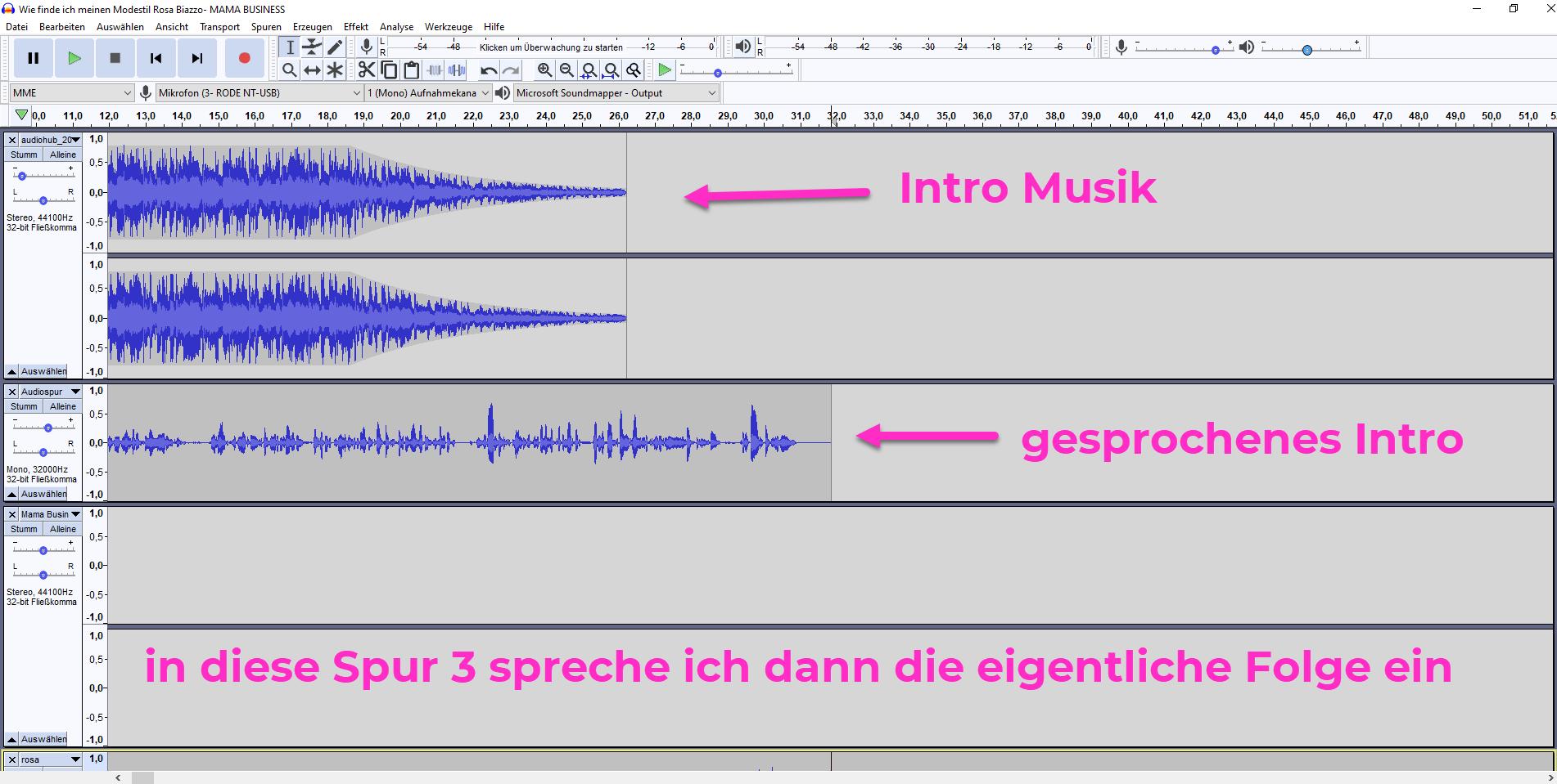 Podcast audacity Anleitung spuren