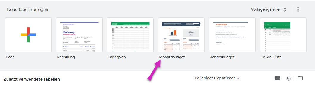 finanzplan mit google tabellen