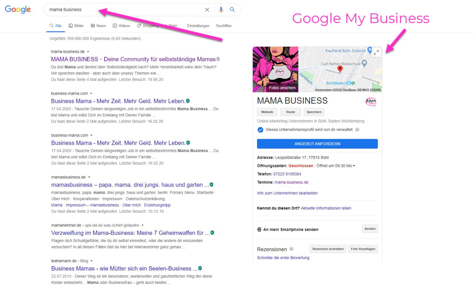 google my business eintrag mama business